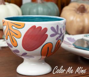 Walnut Creek Floral Pedestal Bowl